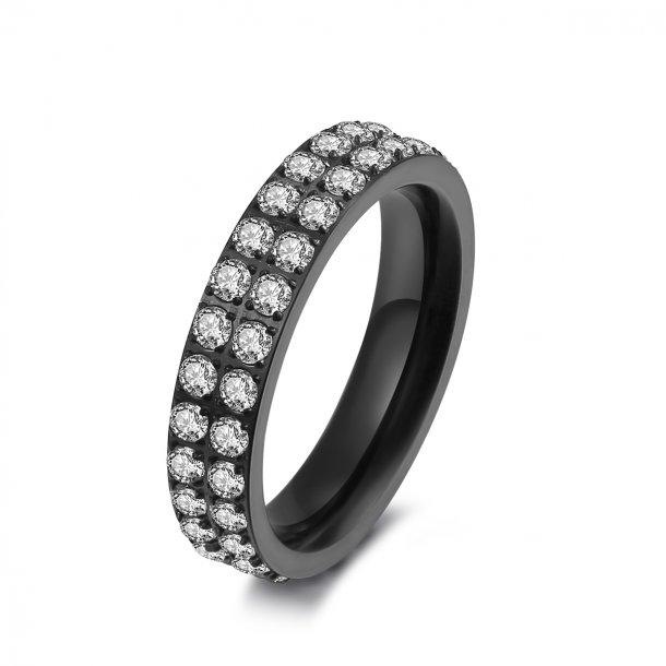 Sort stål ring med zirkonia - 1405123