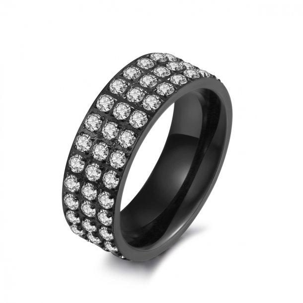 Sort stål ring med zirkonia - 1405133