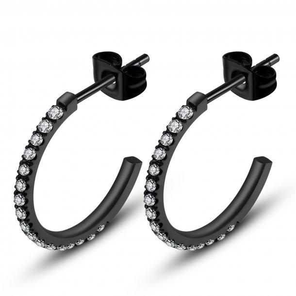 Sort stål ørering med zirkonia - 1505512