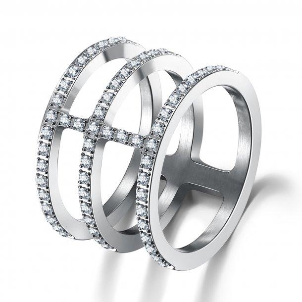 Stål ring med zirkonia - 1601133