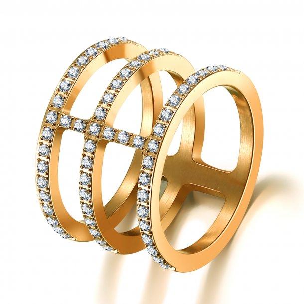 Forgyldt stål ring med zirkonia - 1602133