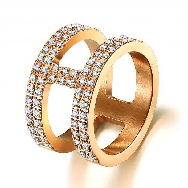 Forgyldt stål ring med zirkonia - 1602223