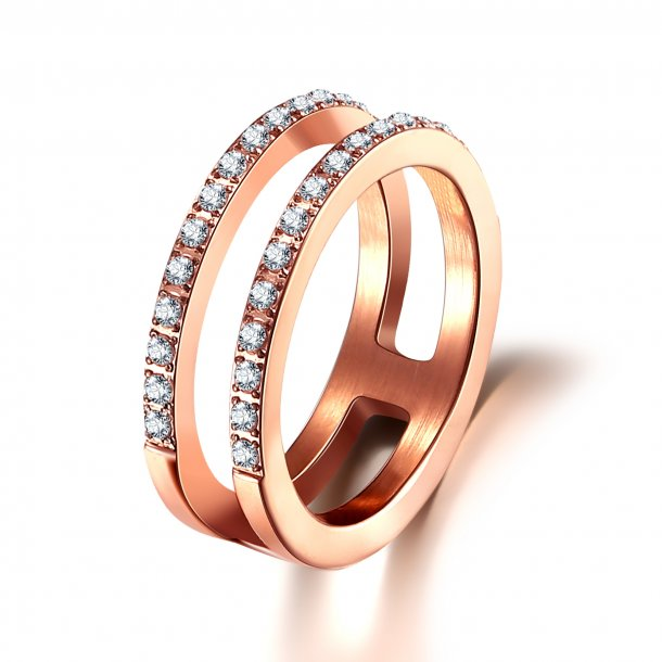 Rosaforgyldt stål ring med zirkonia - 1603023