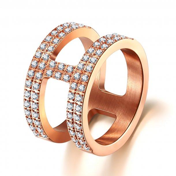 Rosaforgyldt stål ring med zirkonia - 1603223