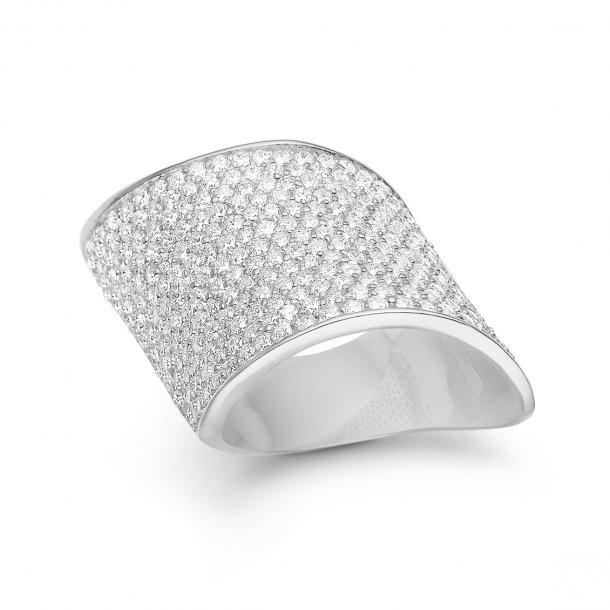 Kranz & Ziegler Rhodineret sølv ring wave - 6205202