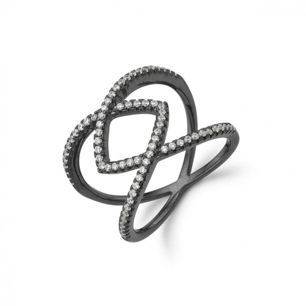 Kranz & Ziegler Sort sølv ring - 6205862