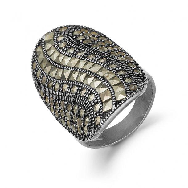 Kranz & Ziegler Sort sølv ring - 6405815