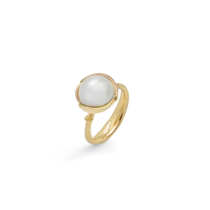 Ole lynggaard lotus 2 ring med perle - a2754-401 mabu perle 56 fra ole lynggaard på brodersen + kobborg