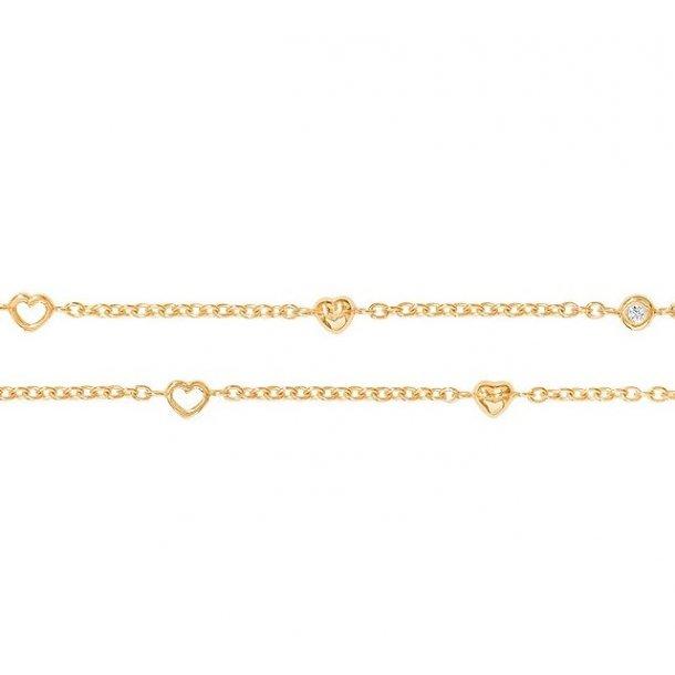 Ole Lynggaard armbånd 18 kt rødguld med hjerter - A1950-401
