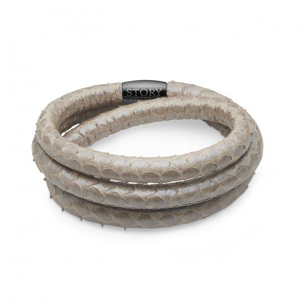 STORY Læderarmbånd grå perlemor slange - 1004871-3