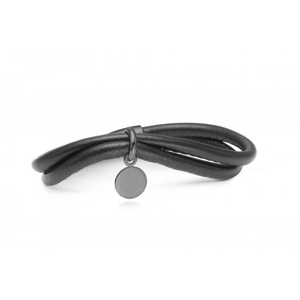 STORYU Læderarmbånd med coin charm - 6004729