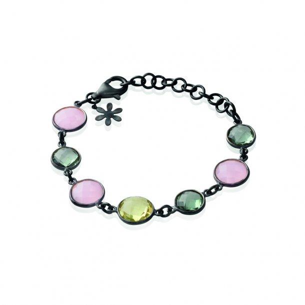 Oxyderet Sølv armbånd med sten - 1394-3-ROSA -GRå-KRYSTAL MIX