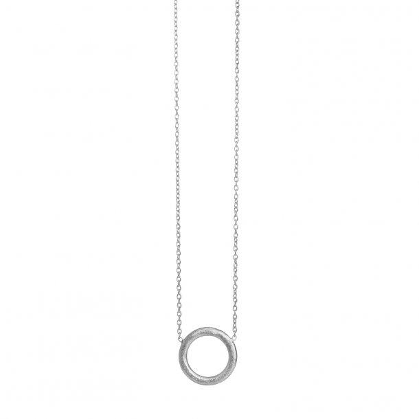 12 mm cirkel sølv vedhæng med kæde - 1473-1