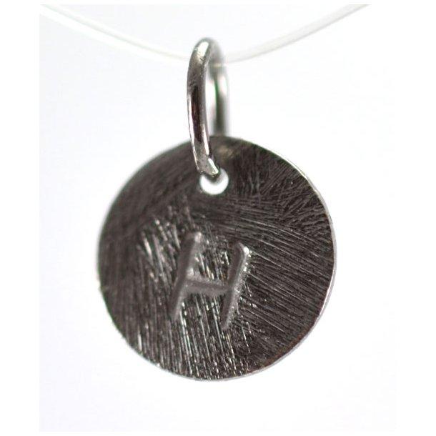 Oxideret sølv vedhæng med bogstav - 1511-3-H