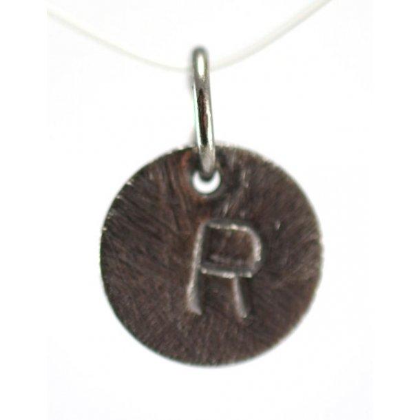Oxideret sølv vedhæng med bogstav - 1511-3-R