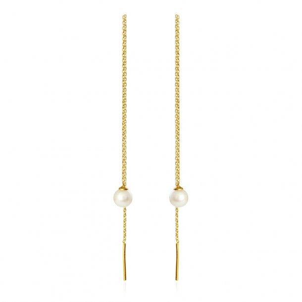 Forgyldt sølv øresikker ballance med perle - 5334-2