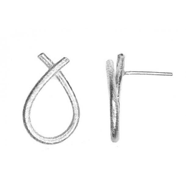 Sølv ørestikker tvistet dråbe - 5360-1